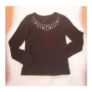Long Sleeve Black T-shirt with gem detail